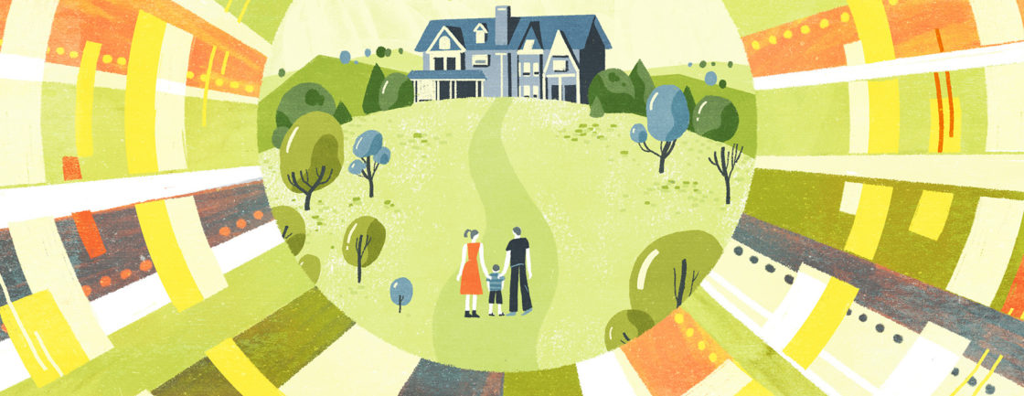Illustration of family approaching home with hope and expectation.