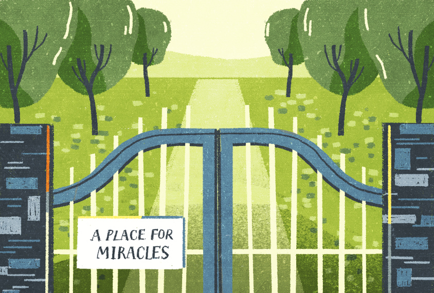 """illustration of gate closed with sign """"a place for miracles"""""""