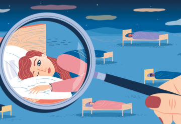 Illustration of a room full of people napping, with a magnifying glass on one person who cannot fall asleep.