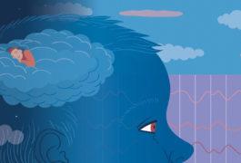 child with someone sleeping in cloud-like brain