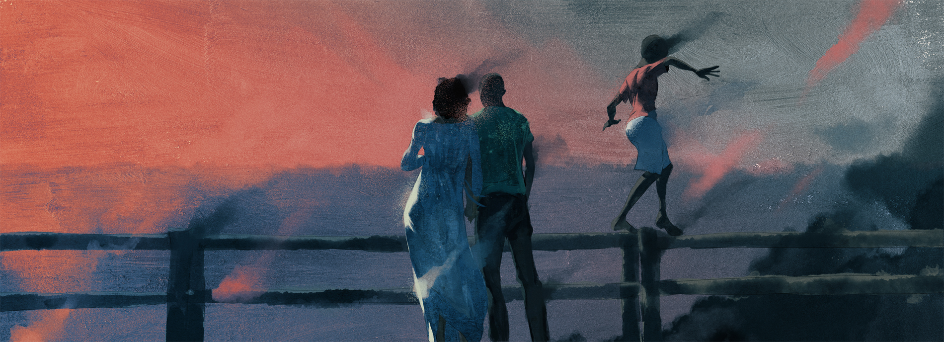 Illustration: Parents looking over a railing into a river, while a child balances on the railing beside them.