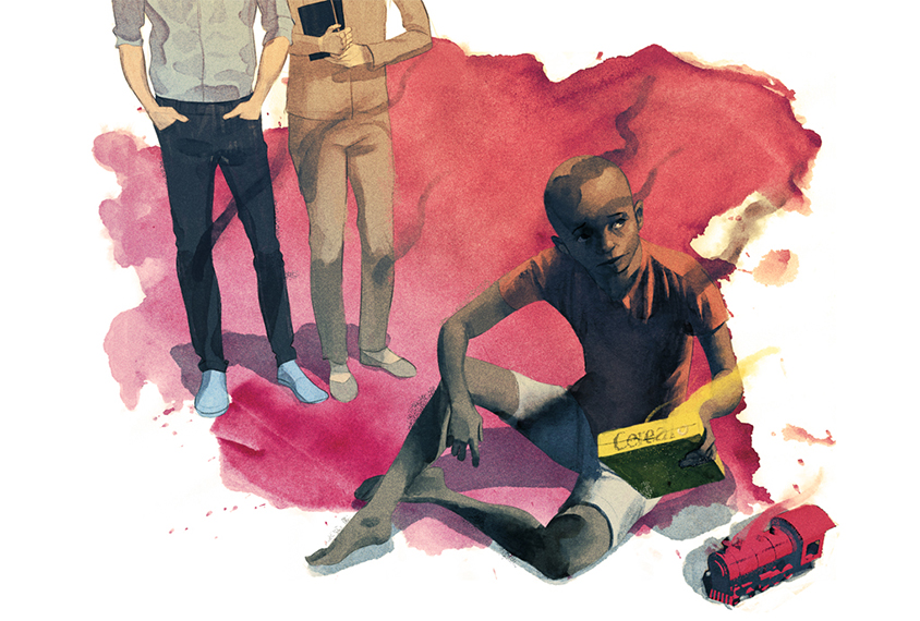 Illustration: A black child sits on the ground playing with a toy train, while in the background two white clinicians observe.