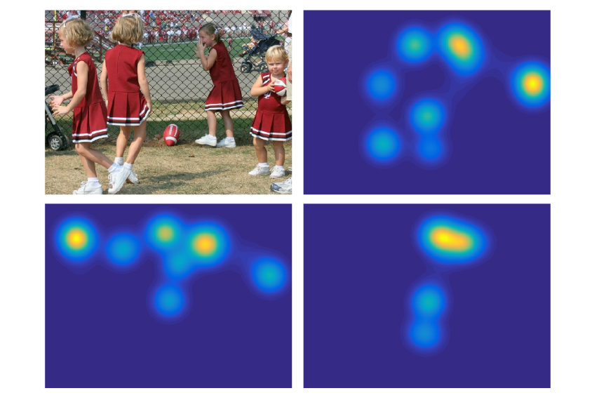 image of cheerleaders juxtaposed with images of a child's gaze