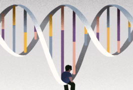 Illustration: An artistic depiction of the double-helix DNA molecule. In the center, there's a lonely-looking person.