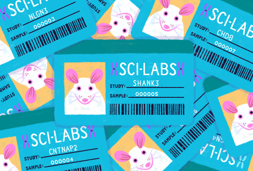 Illustration shows a pile of lab mice ID cards.