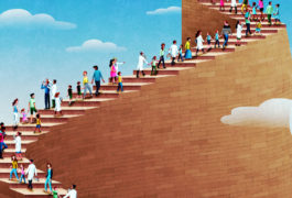 a group of people walking up stairs into the sky
