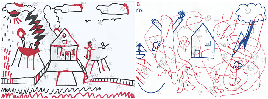 picture this interactive drawings made with a typically developing 6 year old boy left and with a 6 year old boy who has autism right