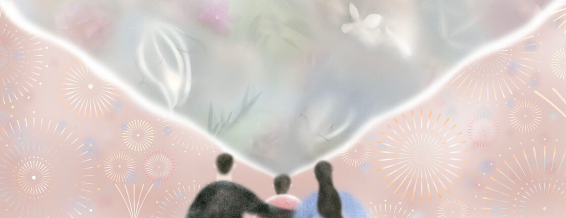 Illustration shows a family is watching fireworks, child sees blurry version of the event.