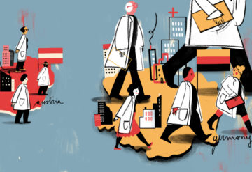 Illustration shows Austria lagging behind Germany--doctors and researchers are taking bigger steps in Germany.