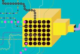 脑电图读数、基因数据和其他彩色信息流进入一个黄色的盒子,然后在另一边以规则的模式出来。