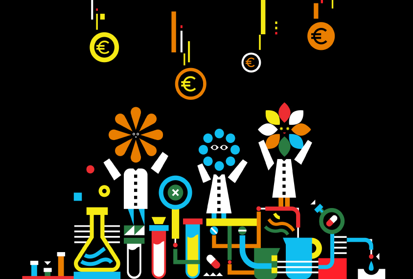 A whimsical illustration shows scientists as flowers, being 'watered' by Euros, which is also filtering down into a system of lab objects and medicines.