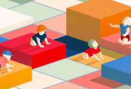 Toddlers on an uneven zone of color blocks.