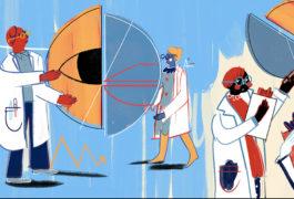 科学家们将大形状转移到位,以展示合作。
