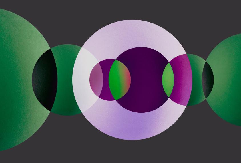 绿色、紫色和紫色的半透明圆形重叠。