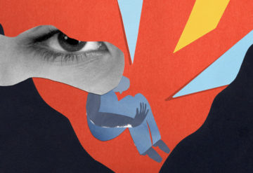 Collage image shows figure of person experiencing a tough therapy session