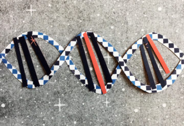 A collage of a DNA helix with two of the bars showing a different color. by Rebecca Horne