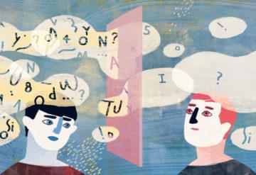 插图显示两个人沟通,头上的词泡沫表明一个人获得了较少的信息。