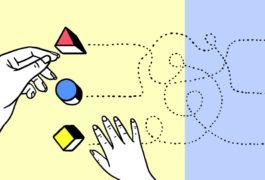 插图显示有孩子的手和成人的手移动它们的彩色块。