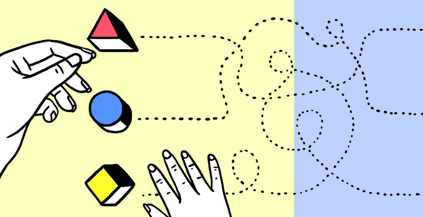 An illustration shows colored blocks with a child's hand and an adult's hand moving them.