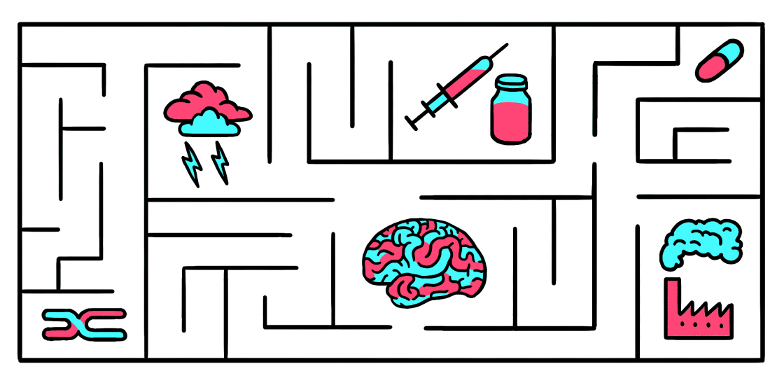 Illustration shows a maze of elements: human brain, medicine, chromosome, factory, clouds and lightning bolts