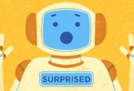 图画显示了机器人,让一张惊讶的脸为模仿人类的情感。