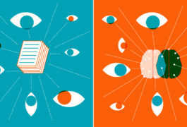 Illustration shows paper under review and the research process, on two different sides.