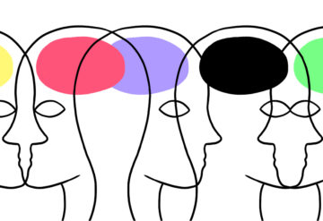 Illustration of profiles with brains of different colors.