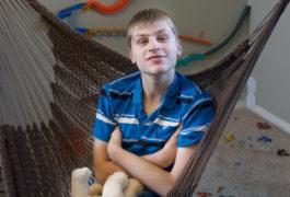 Portrait of boy with autism