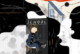 Illustration shows child at school seated in chair with bullies all around
