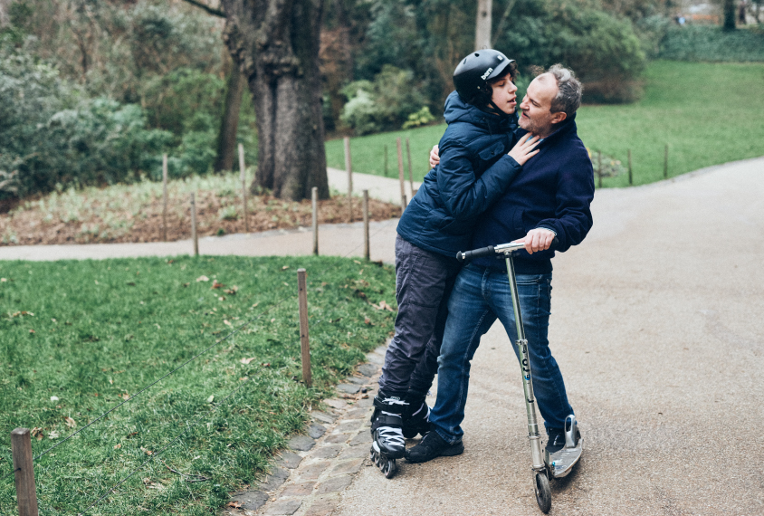 Gabin and his father Laurent in the park near their house in Paris.