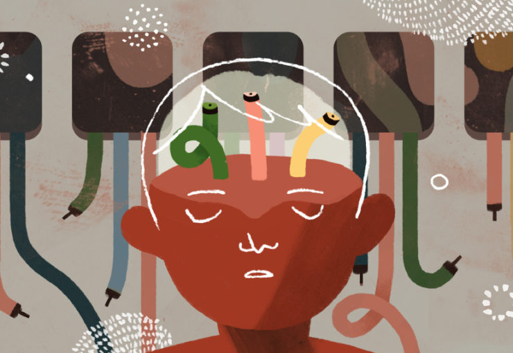 Illustration of a child seen in front of cables, with matching cables in the brain area not fully connected
