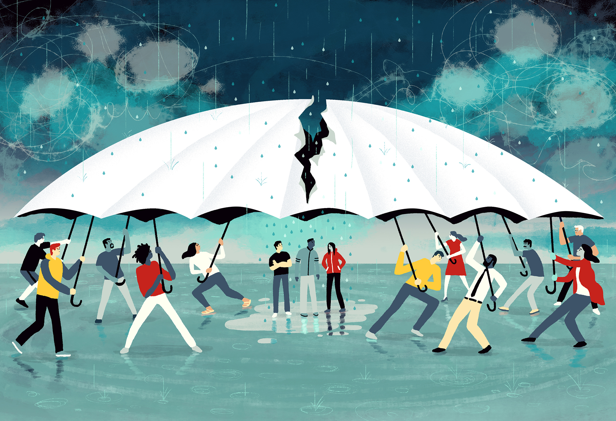 People battling over a giant umbrella, people in the middle are exposed to rain