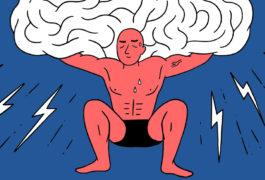一个强壮的男人举着一个超大的大脑
