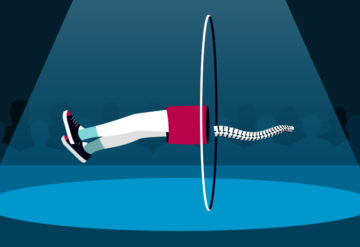Illustration shows the legs of a boy and a spine levitating through a hoop, as in a magic show