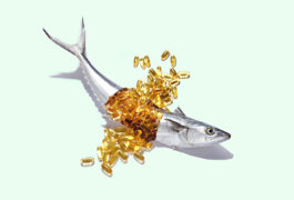 Fish with fish oil capsules spilling out of it.