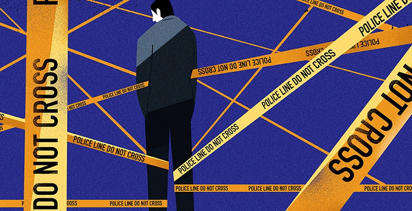 "Illustration shows man penned in by Police line ""do not cross"" yellow tape"