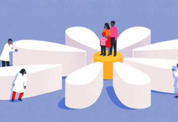 researchers, doctors and others work together to help a family and their autistic child. Family is at the center of a flower, and the researchers are moving the petals into place.