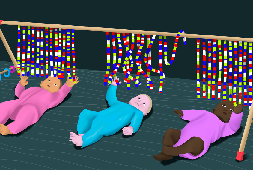 row of babies playing with toys that look like genome sequence
