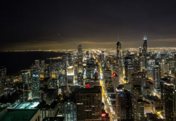 Nightime view of the skyline of downtown Chicago