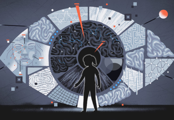 Child hesitating in front of a giant eye showing areas of the brain, facial recognition and other connections related to sight.