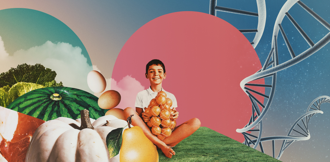 Illustration shows boy with bag of oranges, in landscape of food with DNA trailing around him