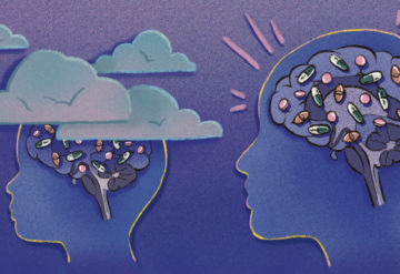 Two silhouettes, of child and an adult in a twilight colored setting. We can see inside the brain and interactions with medicine and the brain. The child's head is surrounded by clouds and the adult head is in the clear.