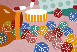 An illustration with warm colors shows a pill bottle on its side with dice, rather than pills, spilling out of it.