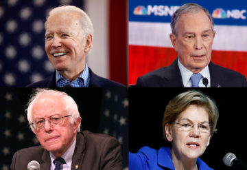 headshots of the four current democratic presidential candidates
