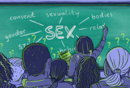 Illustration shows classroom scene with adults learning about relationships and sex.