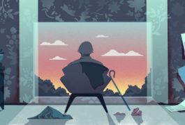 插图展示了一个老人坐在凌乱的房子里的椅子上,看着窗外的日落。