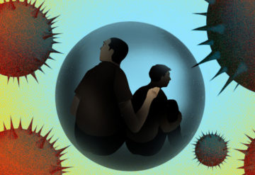 Caregiver and person with autism are inside a delicate protected sphere, while the COVID19 virus looms all around them.