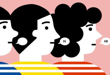 三个孩子的侧面与言语泡泡:一个是空的,一个包含一个字母,一个包含单词'hi ',以说明不同水平的言语能力。