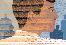 插图显示一个男孩,融合模式重叠;这些线条意味着自闭症和智力残疾。