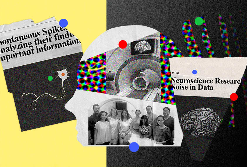 Collage showing Lucina Uddin with members of her lab, an MRI machine, brain images etc.
